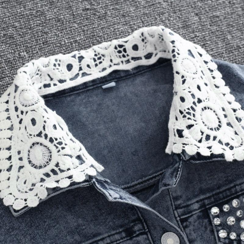 2015 chaqueta de Jeans mujer de encaje de ganchillo diamantes ...