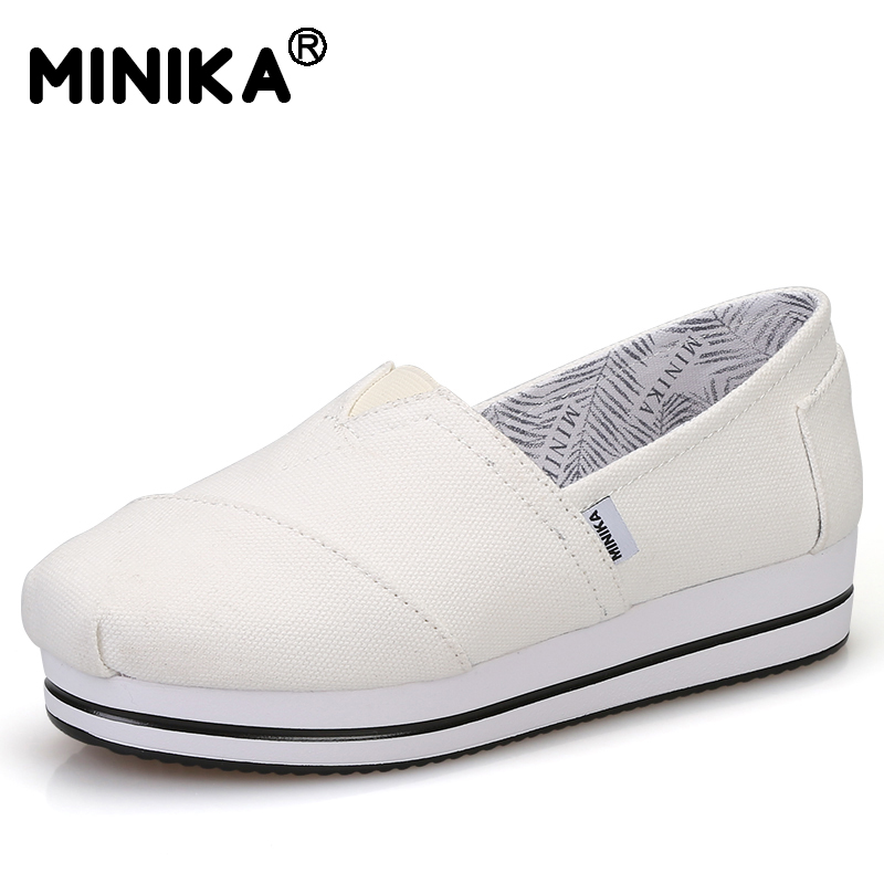 Minika Women Shoes Flats Loafers Casual Breathable Women Flats Slip On Fashion 2017 Canvas Flats Shoes Women Low Shallow Mouth 2017 summer new fashion sexy lace ladies flats shoes womens pointed toe shallow flats shoes black slip on casual loafers t033109