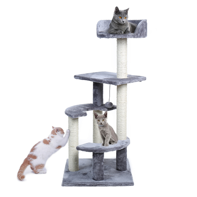 Domestic Delivery Cat Tree Tower H100cm Cat Condo Furniture Kitten House With Sisal Scratching Post And