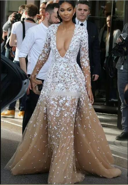 beyonce Champagne Tulle Pageant Celebrity Dresses with Long Seeves Illusion V neck Lace Applique 2017 Winter Evening party dress 1