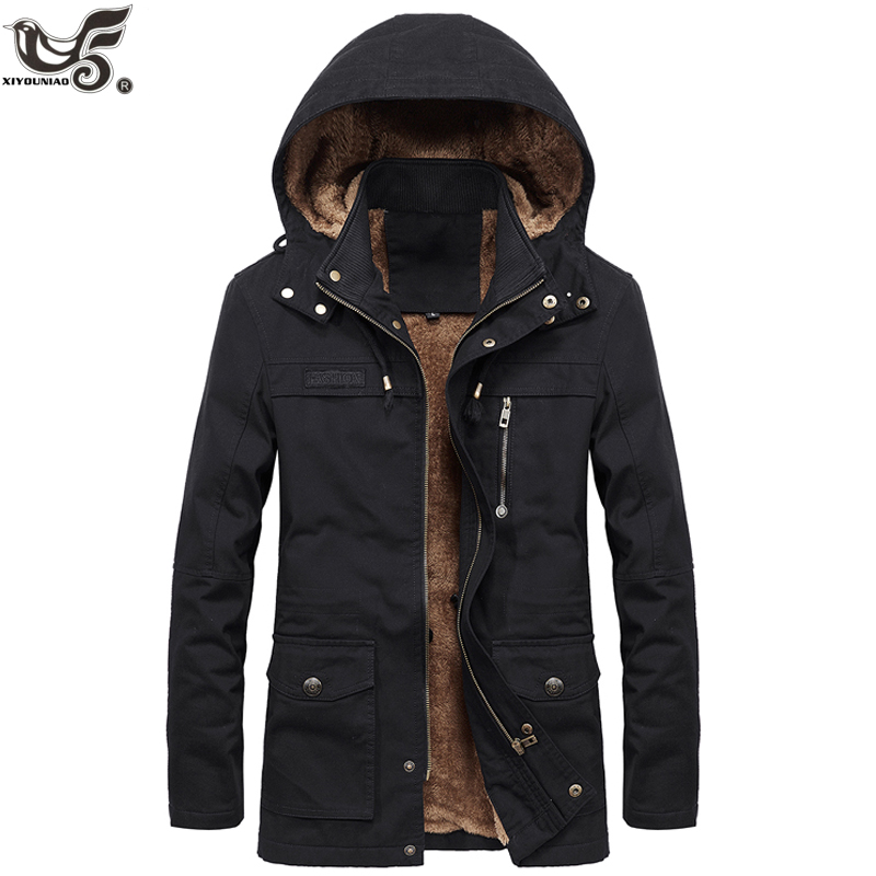 New Military Thick Warm Man Jacket Winter Parkas Casual Cotton Padded Jacket Male Multi-Pocket Fur Hoodies Men Coat Parka Hombre