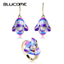 Blucome Imitation Pearls Jewelry Sets Purple Hooks Earrings Adjustable Wedding Rings Enamel Lily Flower Ring Bijuteria Bijoux(China)