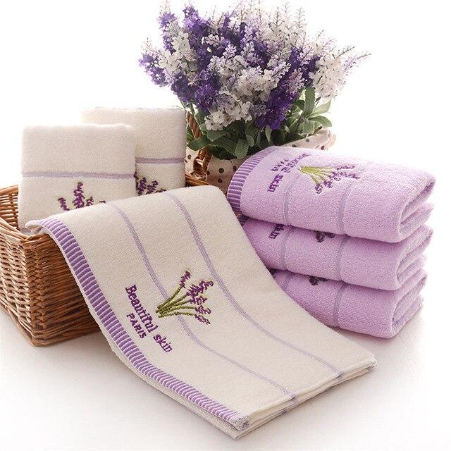 1 pz 33*74 cm di Fiori di lavanda jacquard Morbido Viso Asciugamano di Cotone Capelli Mano Asciugamani Da Bagno badlaken toalla Toallas mano libero di trasporto del Regalo 42003