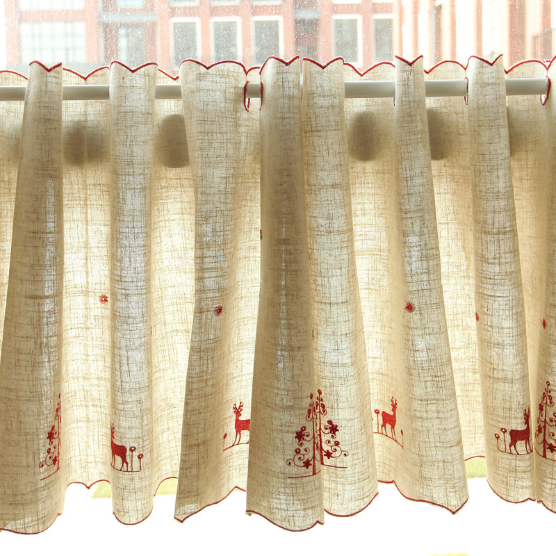 Kitchen Curtain Coffee Curtain Polyester Dust-Proof Pleated Christmas Red And Gold Deer Embroidery Decoration For Kitchen 1 PCS