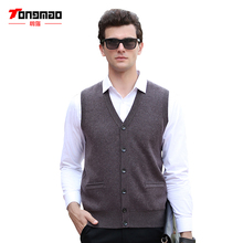 Autumn Winter Mens Sweater Casual Solid Color V-Neck Men Vest Cardigans Soft Warm 100% Pure Wool Thick Vest Men Sweater Knitwear