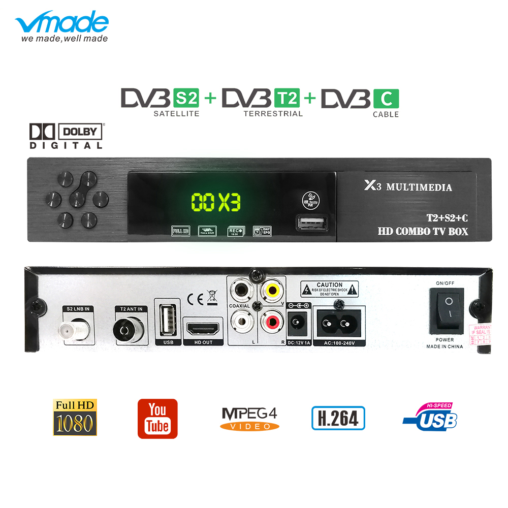 Vmade X3 HD DVB-T2 DVB-S2 DVB-C COMBO Digital Satellite Receiver Full HD1080p Terrestrial TV Tuner Support AC3 Youtube Cccams