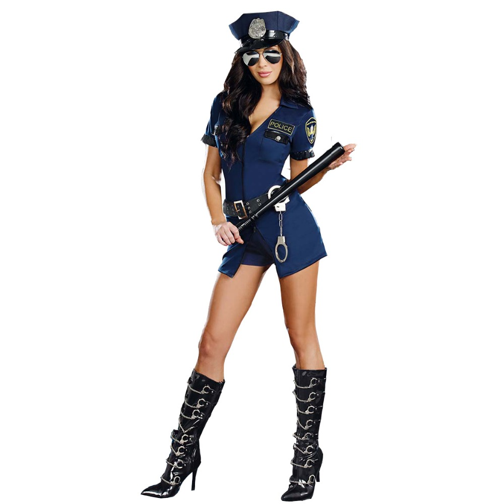 UTMEON Sex Spandex Police Costume Stop Traffic <font><b>Cop</b></font> Costume Dresses <font><b>Sexy</b></font> Lingerie Cosplay Uniform image