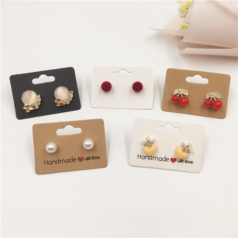 200pcs 5x3.5cm Kraft Paper Cardboard Stud Earring Cards For Jewelry Accessories Displays Packing Cards Brown White Brown Color