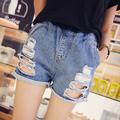 Новые Женщины Повседневная Лето Основной джинсовой ковбой отверстие Шорты джинсы карман вышивка кисточкой выдалбливают Плюс Размер