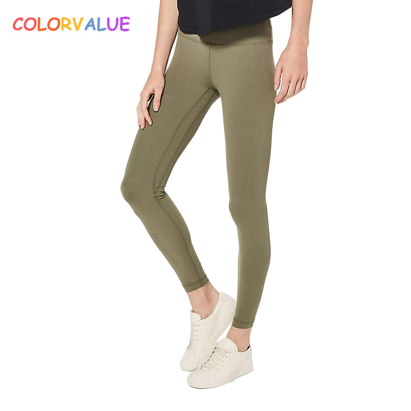 Colorvalue Squatproof Hip Up Yoga Fitness Leggings Women V-shape Solid Sport Gym Tights Top Quality Nylon Workout Pants XS-XL colorvalue solid sport fitness leggings women high stretchy yoga pants nylon mesh gym athletic leggings with triangle crotch