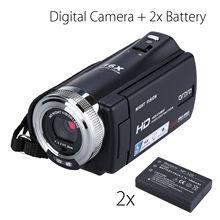 цена на ORDRO HDV-V12 3.0 LCD 1080P FHD Digital Camera Camcorder 16x Zoom DVR Night Vision CMOS Sensor Microphone + 2pcs Battery