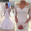 2017 New Long Sleeves Mermaid Lace Wedding Dresses Sexy V-neck Beaded Cheap Wedding Bride Dress Real Pictures Vestido De Noiva