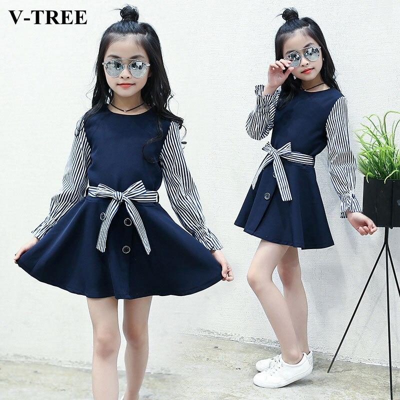 V-TREE Girls Dress Striped Dresses For Girls Long Sleeve Kids Princess Dress Roupas Infantis Menina School Girl Costume tree girl