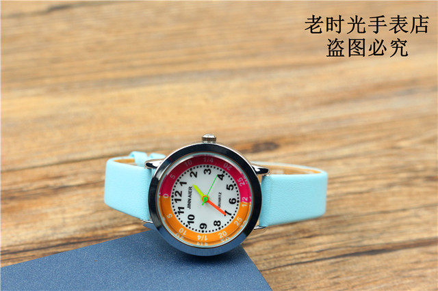 children candy watch lovely little girls and boys high quality quartz watch best birthday Xmas gift for kids leather clock