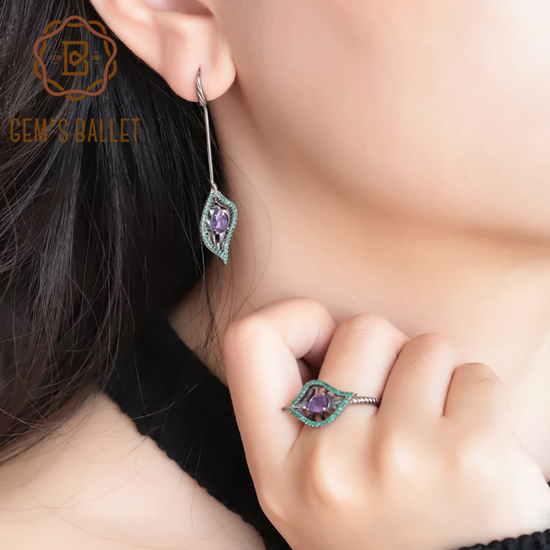 GEM S BALLET Natural Amethyst Vintage Leaf Jewelry Sets 925 Sterling Silver Gemstone Earrings Ring Set