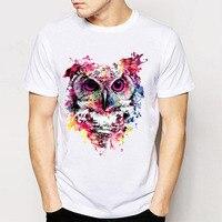 Gildan 트랙 선박 + 남성 티 셔츠 새로운 레트로 락 & 롤 펑크 티 디자인 T 셔츠 올빼미 환각 팝 아트 간단한 스타