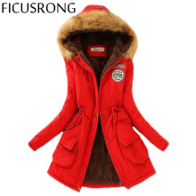FICUSRONG Parkas Women Coats Fashion Autumn Warm Winter Jackets Women Fur Collar Long Parka Plus Size Hoodies Casual Cotton Outw