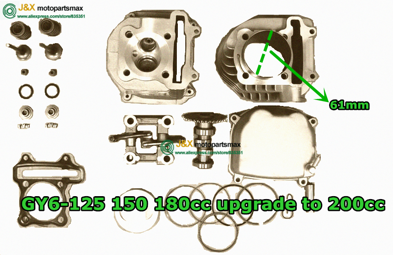 JIA Motor - GY6 125 150 180CC UPGRADE TO GY6 200CC 61MM BIG BORE KIT FOR CHINESE SCOOTERS WITH 150cc GY6 MOTORS цена