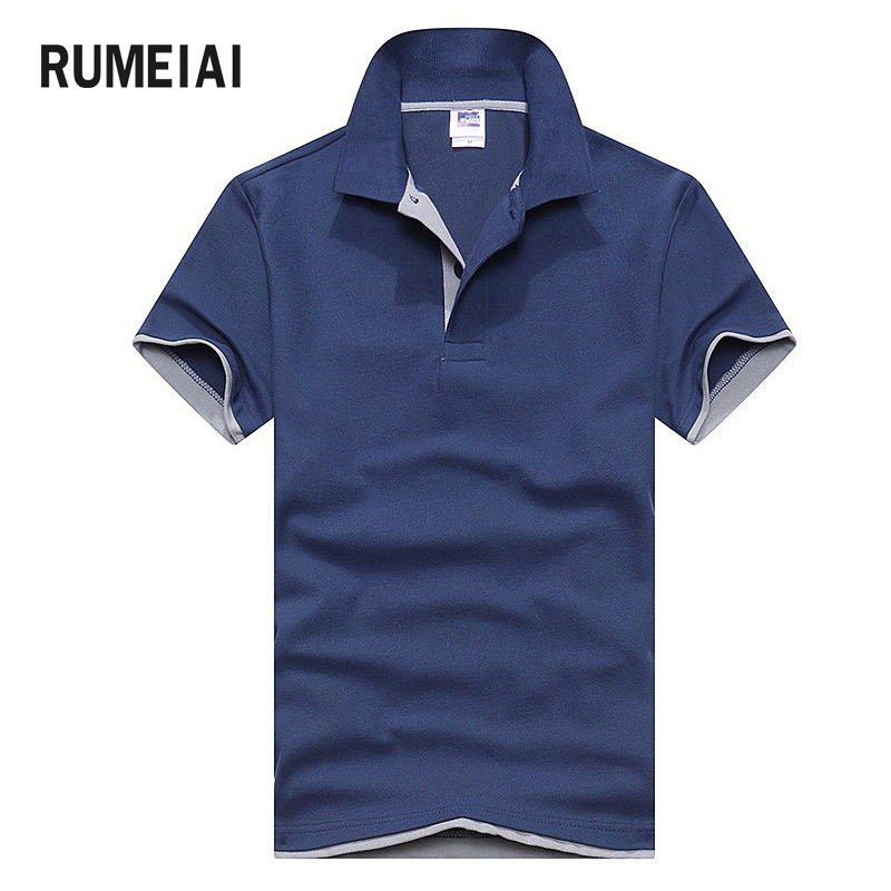 RUMEIAI 2018 New Fashion Brand Turn Down Collar Summer cotton Men's T Shirt large size business casual Men T-shirt 14 Colors 3XL
