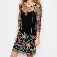 Summer Dress 2017 Mesh Dress Sheerness Sleeve Women Floral Embroidery Lace Mini Dresses Casual See Through