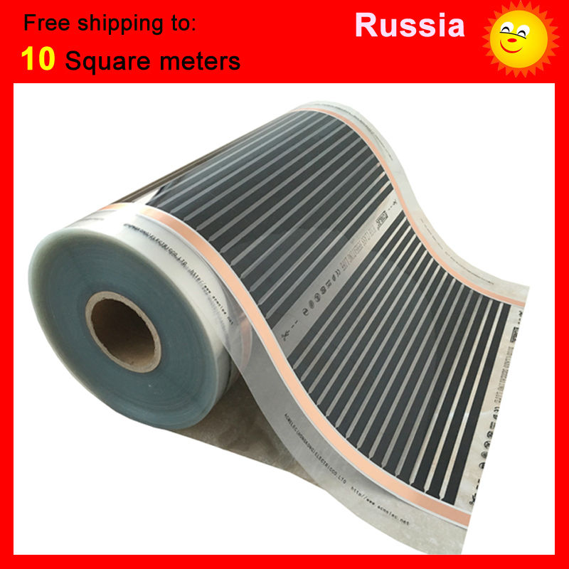 Russia free shipping, 10 Square meter floor Heating film, AC220V infrared heating film 50cm x 20m electric heater for room united kingdom free shipping 50 square meter infrared heating film with accessories under floor heating film 50cmx100m