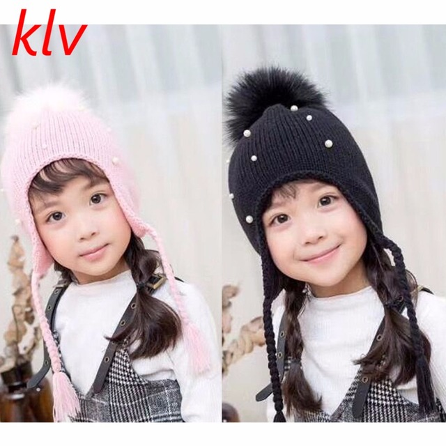 f4ad6acfa3a Baby Boy Girls Hair Ball Earbud Hat Kids Child Crochet Winter Warm Knit  Hats Cap