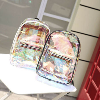 Girls Clear Backpack Transparent Jelly Candy Shoulders Bag School Backpacks Fashion Women Girls' Jelly Backpack Ladies Laser Bag cute clear transparent women backpacks pvc jelly color student schoolbags fashion ita teenage girls bags for school backpack new