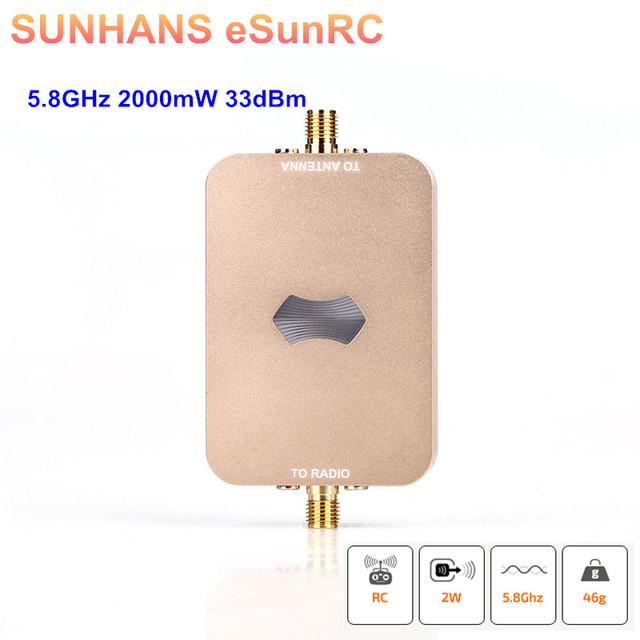 2 Peças Genuine eSunRC SH-RC58G2W SUNHANS 5.8 Ghz IEEE 802.11/a/n 2000 mW UAV 33dBm WiFi Signal Amplificador de Sinal de reforço Wi-fi