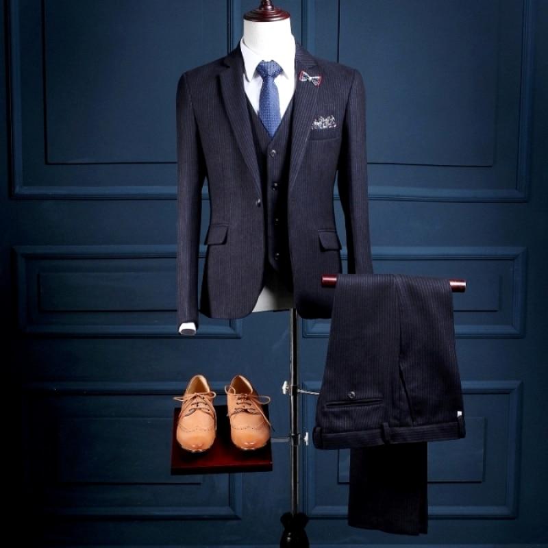 Na17 Benutzerdefinierte One Button Marineblau Mit Silber Streifen Mans Formal Parteien Tragen Ternos Herren Smoking (coat + Pants + Weste) Anzug Design SchöN Und Charmant
