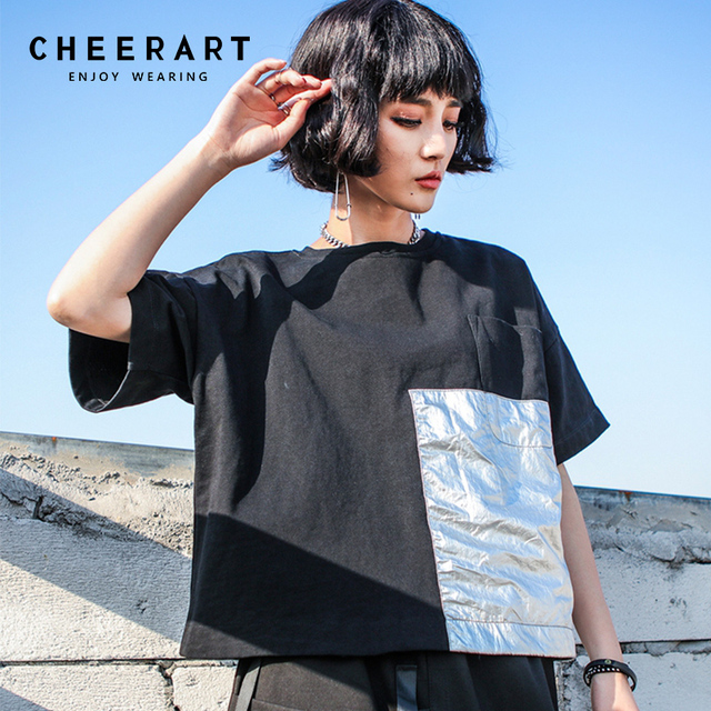 1e40a99479e90 Cheerart Streetwear Summer Balck Crop Top T Shirt Women Loose Sliver Pocket  Punk Rock Cotton Tee Shirt Femme