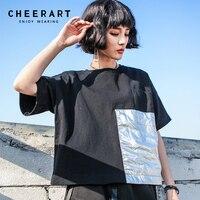 Cheerart Streetwear Summer Balck Crop Top T Shirt Women Loose Sliver Pocket Punk Rock Cotton Tee Shirt Femme
