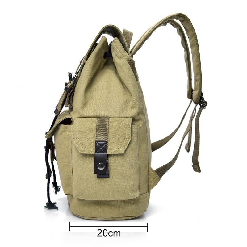 Top Canvas Backpack Men Drawstring Webbing Snap Travel Luggage Army Bags Military Rucksack Hiking Climbing Bags Mochila XA452WD 3