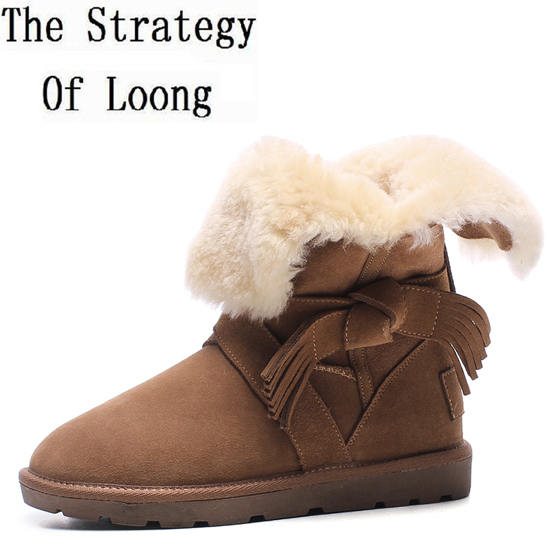 2017 New Arrival Cross Tied Women Genuine Leather Plush Flat Ankle Boots Winter Fringe Pure Color Thick Warm Snow Boots ZY171101 2015 winter new arrival australia classic warm boots genuine leather handmade rhinestones diamond 3d flower women snow boots