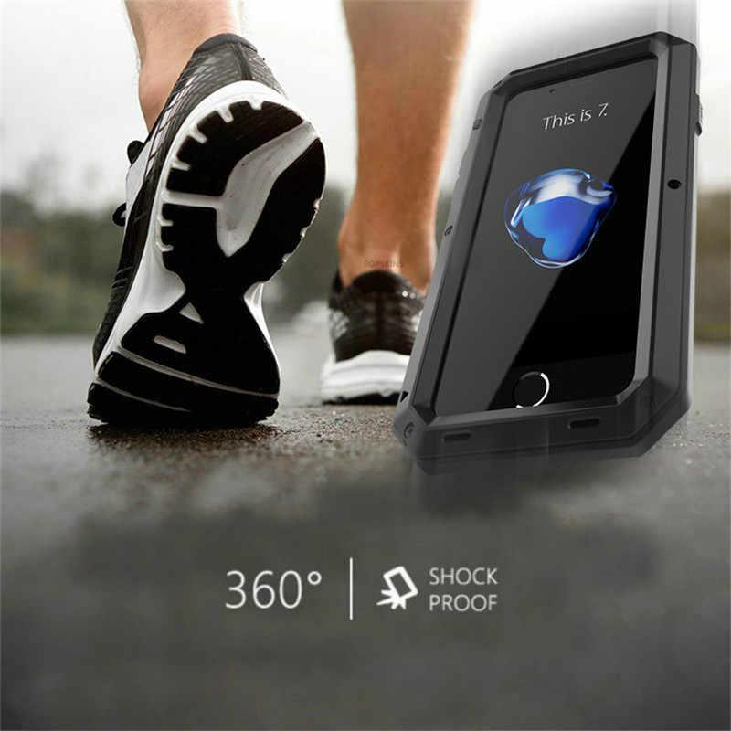 الثقيلة حقيبة لهاتف أي فون XS ماكس X 8 7 6 6S زائد الموت المعادن غلاف واقي مضاد للصدمات حقيبة لهاتف سامسونج غالاكسي S9 S8 زائد S7 ملاحظة 10 9 8