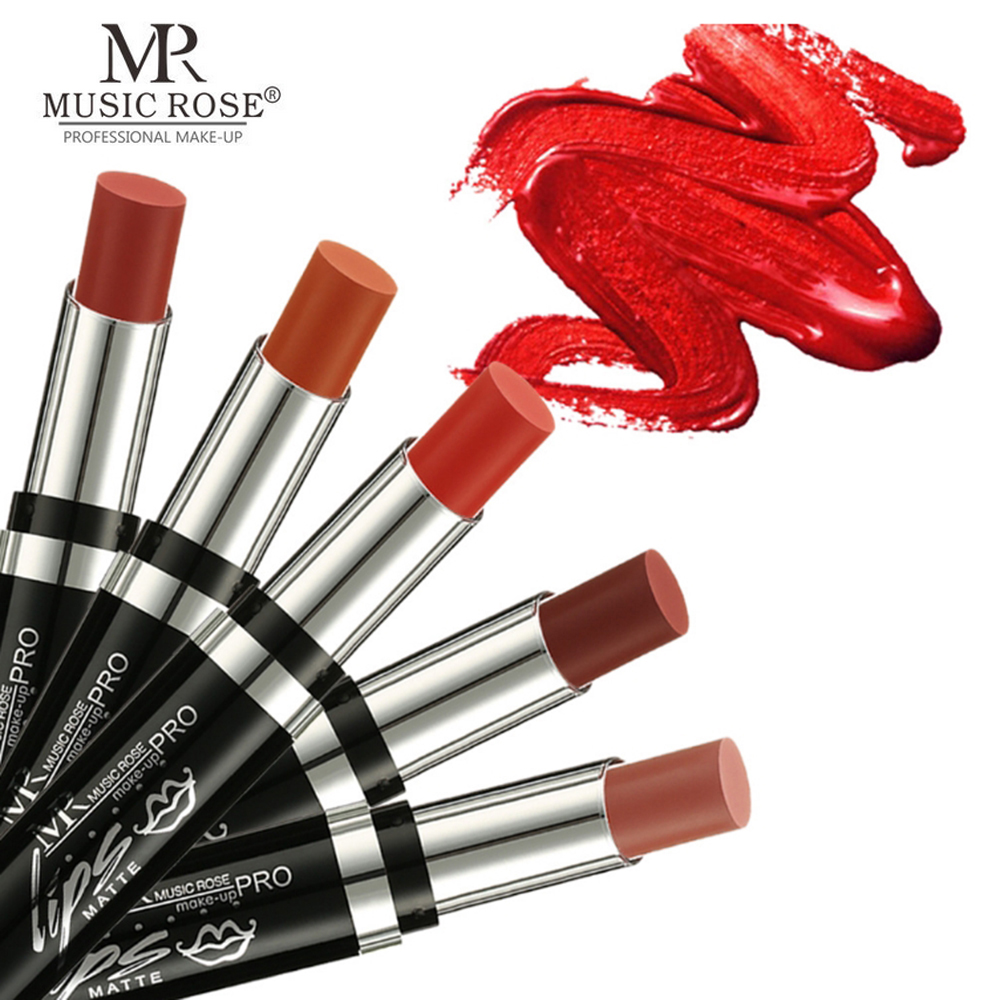MUSIC ROSE Brand Professional Lips Makeup Waterproof Long Lasting Pigment Nude Red Matte Lipstick Luxury Cosmetics