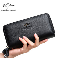KANGAROO KINGDOM fashion brand women wallets genuine leather long large capacity zipper clutch purse for lady