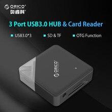ORICO C3TS-BK Multifunción de 3 Puertos USB3.0 HUB Lector de Tarjetas wth para Portátil-Negro