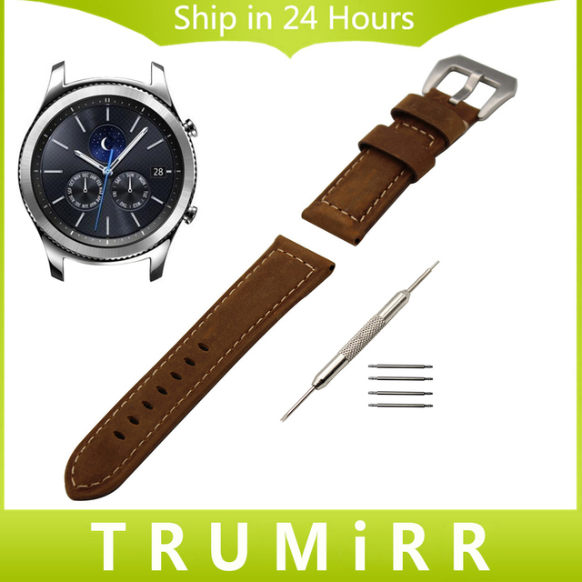 22mm Italian Genuine Leather Watch Band + Tool for Samsung Gear S3 Classic Frontier Stainless Steel Tang Buckle Strap Bracelet