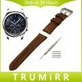 22mm faixa de relógio de couro italiano genuíno + ferramenta para samsung gear s3 clássico fronteira de aço inoxidável tang buckle strap pulseira