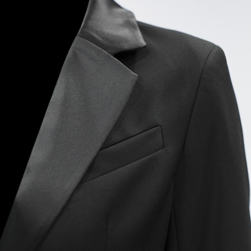 Mode Trois 2019 Beau Black Manches Paillettes quarts Ji474 eam Nouveau Printemps Retour Marée Revers Veste De Manteau Femmes Lâche custom Couture aAIxqd