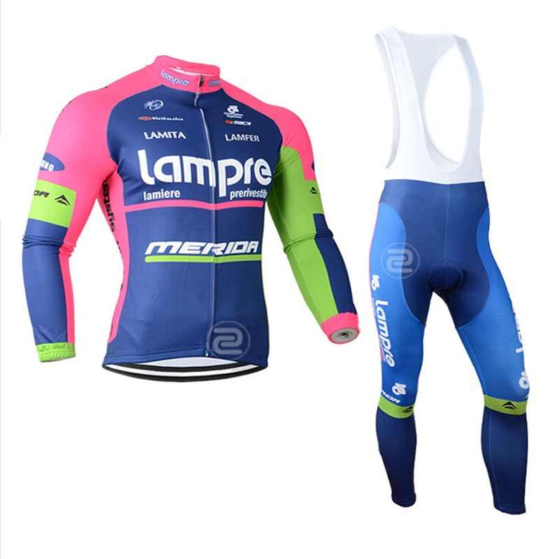 Lampre triathlon Winter Thermal Cycling Clothing Fleece Men Cycling Jersey  set 2018 team Bicycle Outdoor Sports b3b91b6cb