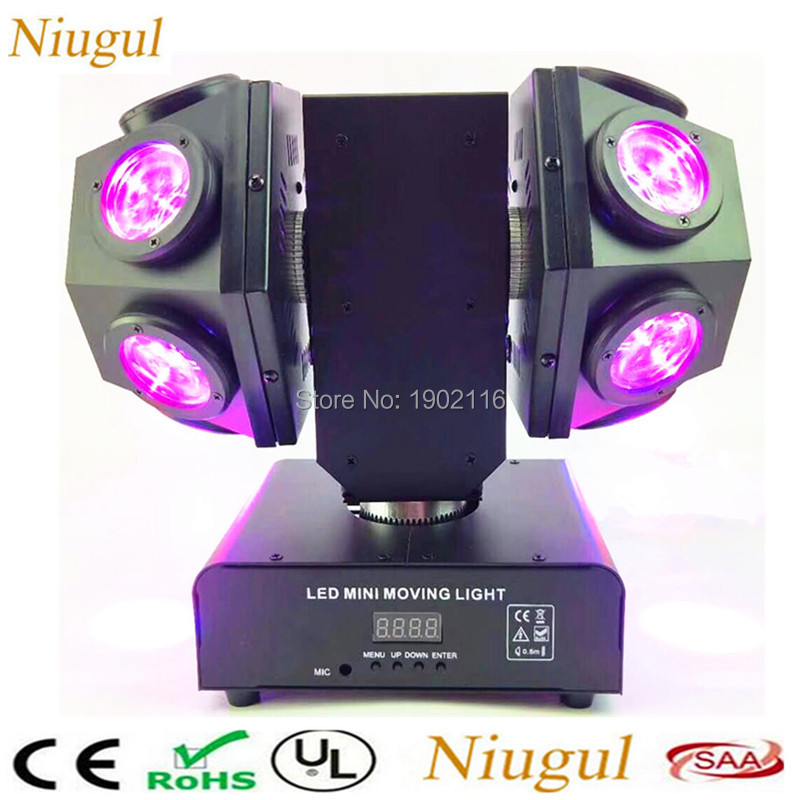 Niugul Mini 12x10W RGBW 4IN1 LED Head Moving head beam Double Arms stage lights Disco Club Bar DJ lighting with Free shipping