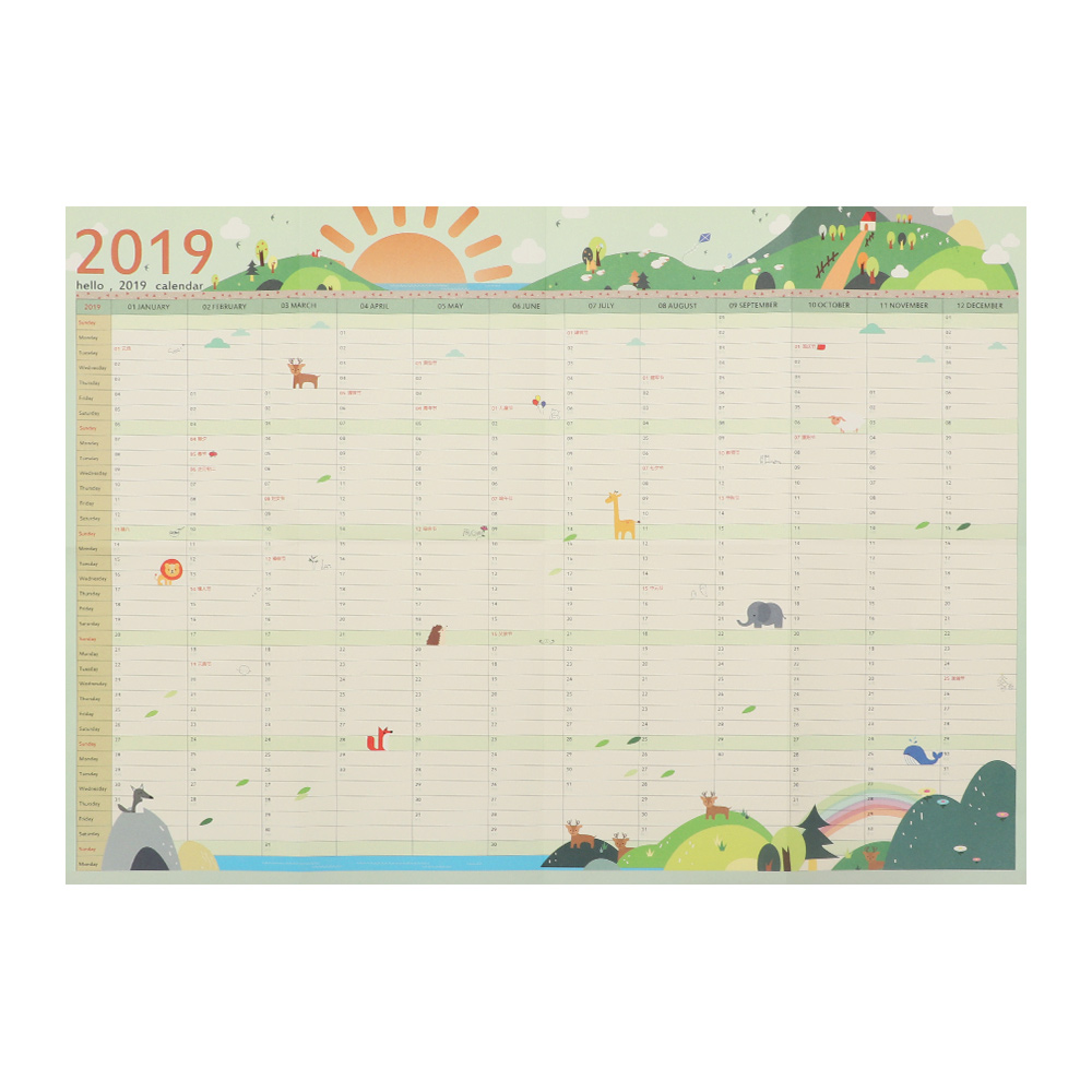 1PC Hot 7 Styles 2019 365 Days Wall Calendar Paper Yearly Calendar Planner Day Schedule Agenda New Year Planner