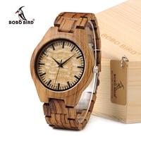 BOBO VOGEL G23 Mannen Horloges Eenvoudige Plaat Alle Zebra Hout Horloge Relogio Masculino