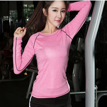 New Women Yoga Shirts Long Sleeve Running Shirts Quick Dry Breathable Yoga Tops Compression Tights Fitness Workout Sportswear