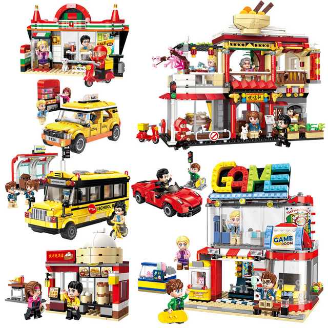 Colorful City Series Model Building Blocks Toy Sightseeing Taxi For Children Toys Compatible Legoings Figures Educational Bricks