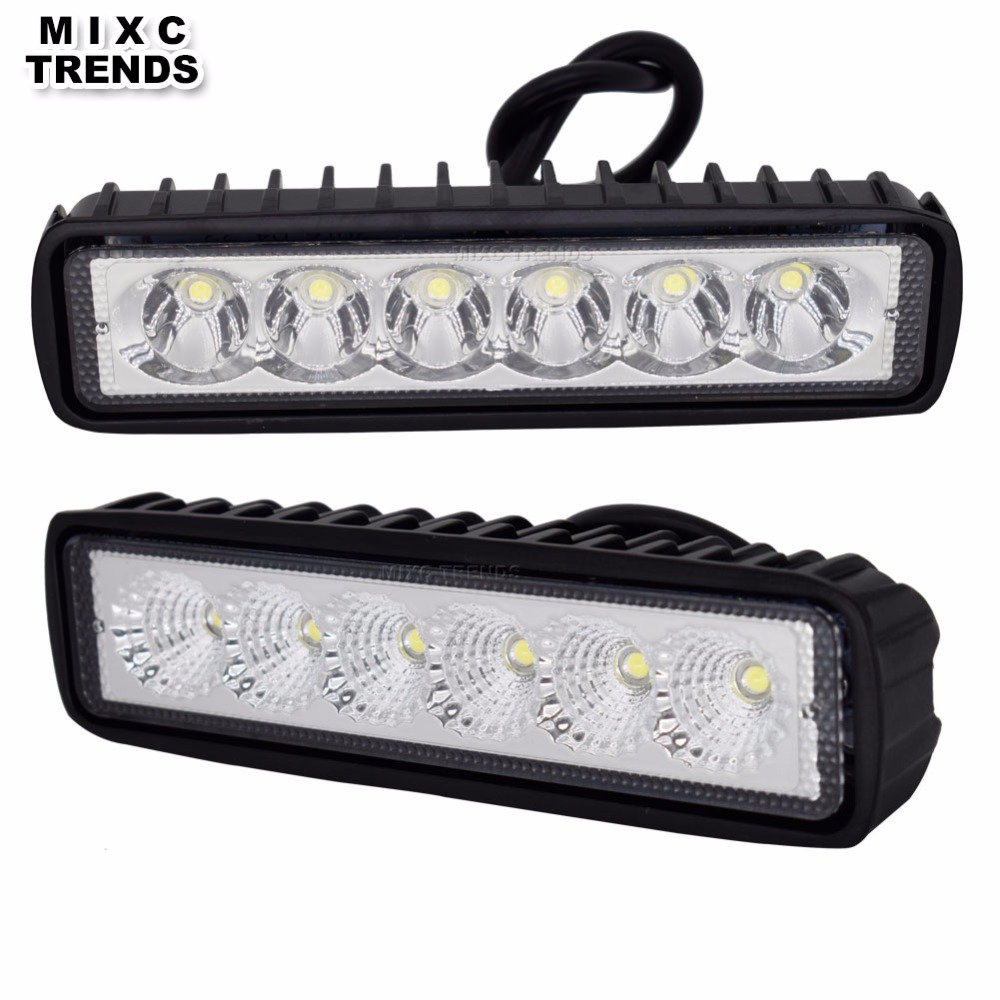 MIXC TRENDS 18W 12V LED Work Fog Light Bar Spotlight Flood Lamp Driving Offroad LED DRL Car Lights for Jeep Toyota SUV 4WD Truck guleek f018bf 18w 1260lm 6000k 6 led white flood light working lamp for offroad car