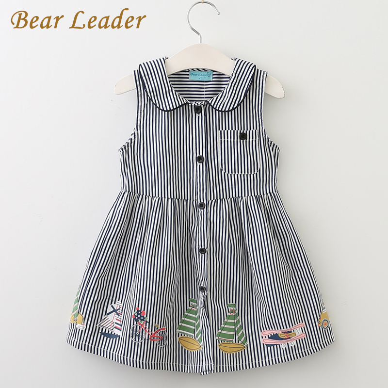 Bear Leader Girls Dress 2017 New Summer Style Brand Kids Dress Peter pan Collar Sleeveless Striped Pattern Pring for Baby Dress stylish peter pan collar color block striped dress for girls