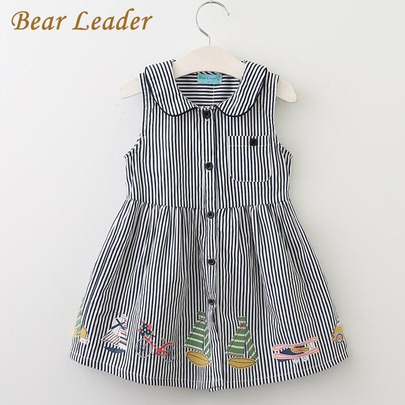 Bear leader niñas vestido de 2017 nuevo estilo de verano marca niños collar de P