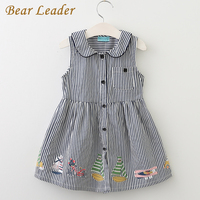 Bear Leader Girls Dress 2017 New Summer Style Brand Kids Dress Peter Pan Collar Sleeveless Striped